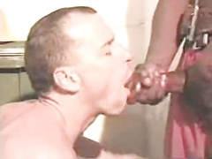 A Black Man Cums In The Mouth Of A White