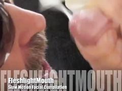 FleshlightMouth Slow Motion Facial Cumpilation