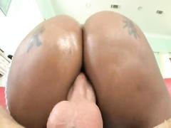 Black Whore Bounces On Big White Cock