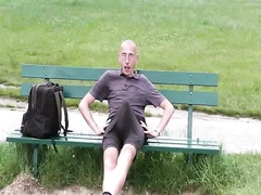 tenting on a bench