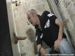 Smoking Dad finds Uncut Glory Hole Big