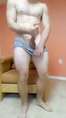 Muscle Jock Strokes Huge Cock