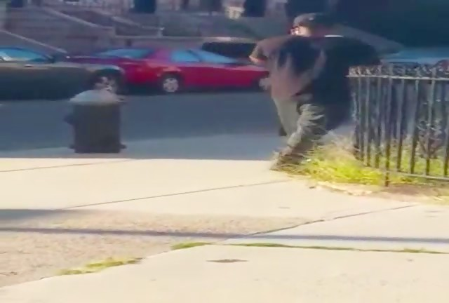 Caught Beating His Dick Off  Walking Down The Block