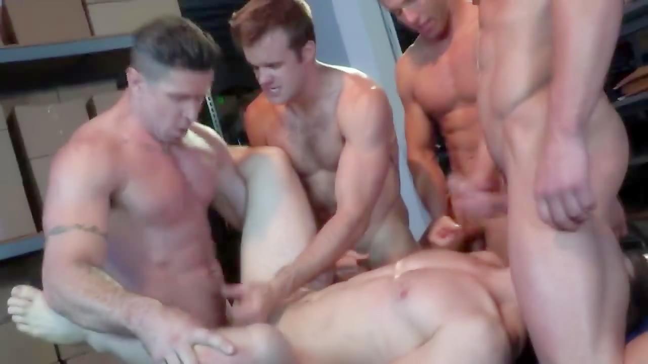 Hot muscled jock gets gangbanged by four jocks